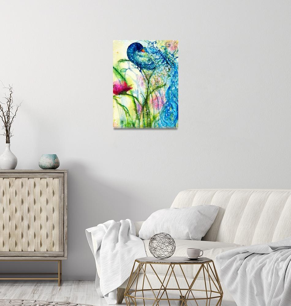 """Peacock and Ranuculas Sing""  (2010) by ArtSamadhi"