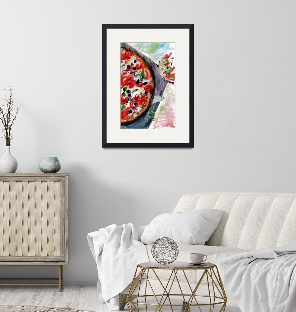 """""""Pizza Italian Food Watercolor""""  (2016) by GinetteCallaway"""