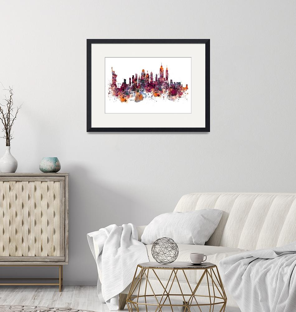 """New York Skyline Watercolor""  (2015) by MarianVoicu"