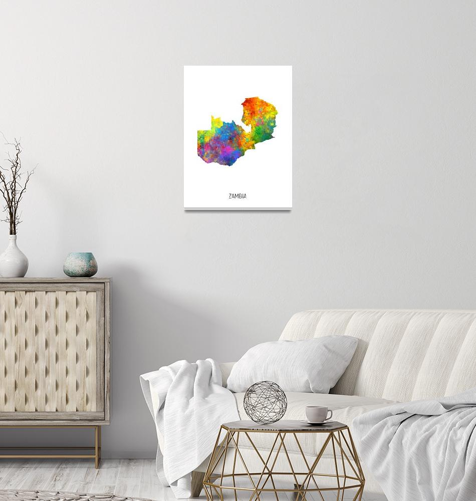 """Zambia Watercolor Map""  (2019) by ModernArtPrints"