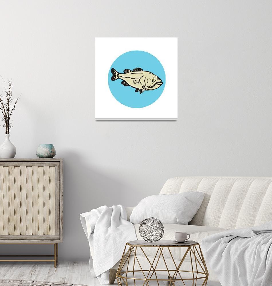 """Largemouth Bass Fish Side Circle Cartoon""  (2015) by patrimonio"