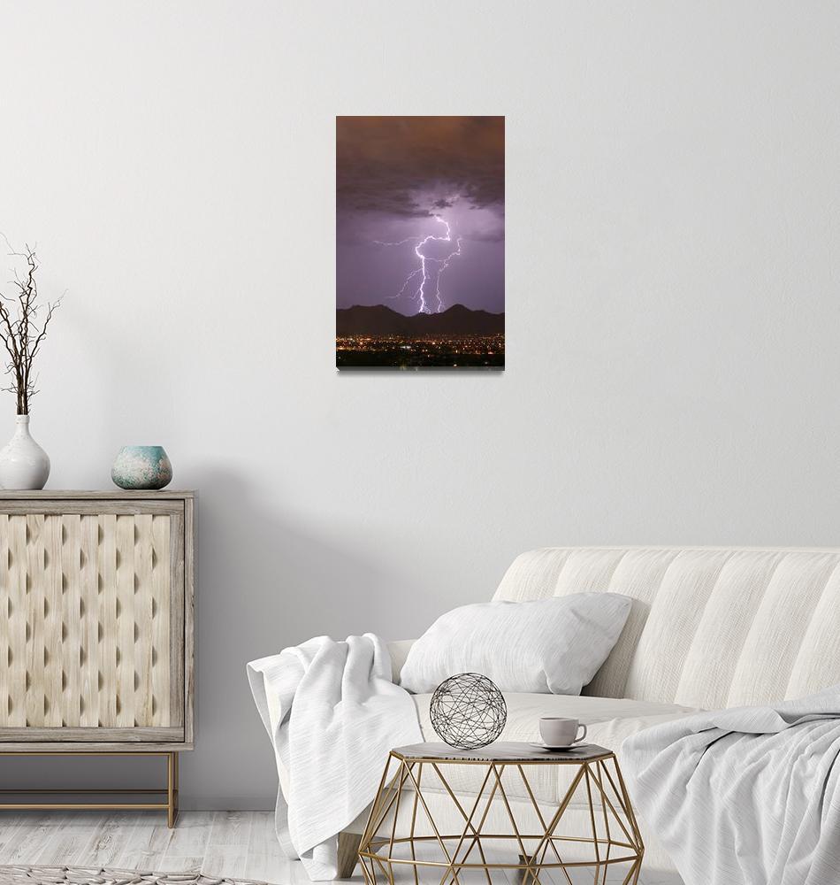 """Double Lightning Strikes Fine Art Photography""  (2009) by lightningman"
