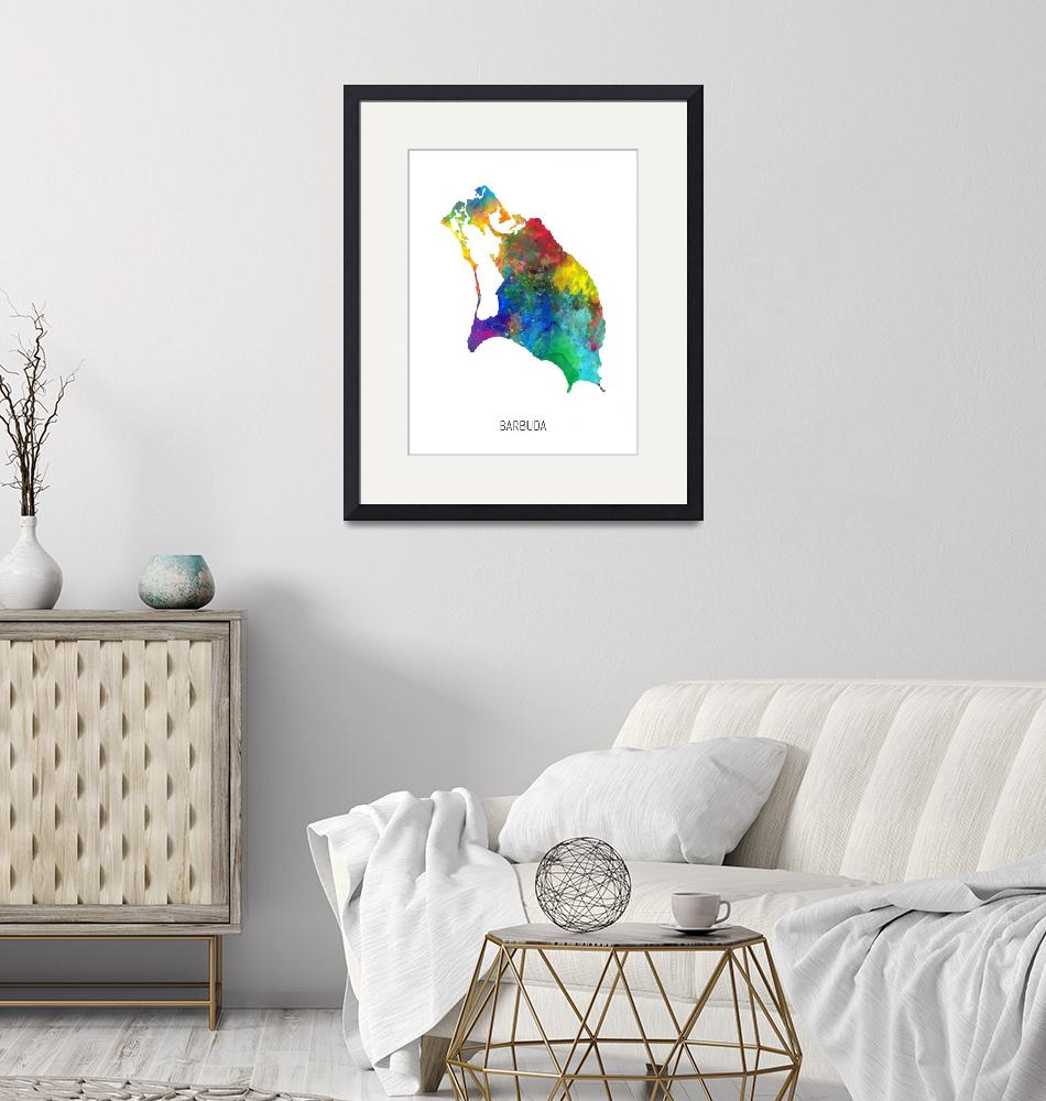 """Barbuda Watercolor Map""  (2019) by ModernArtPrints"