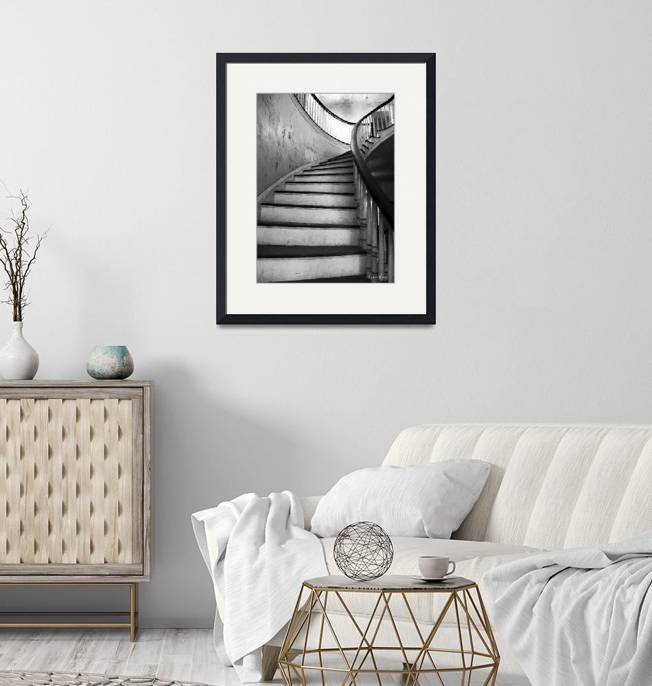"""""""Staircase in Black and White""""  (2016) by LouiseReeves"""