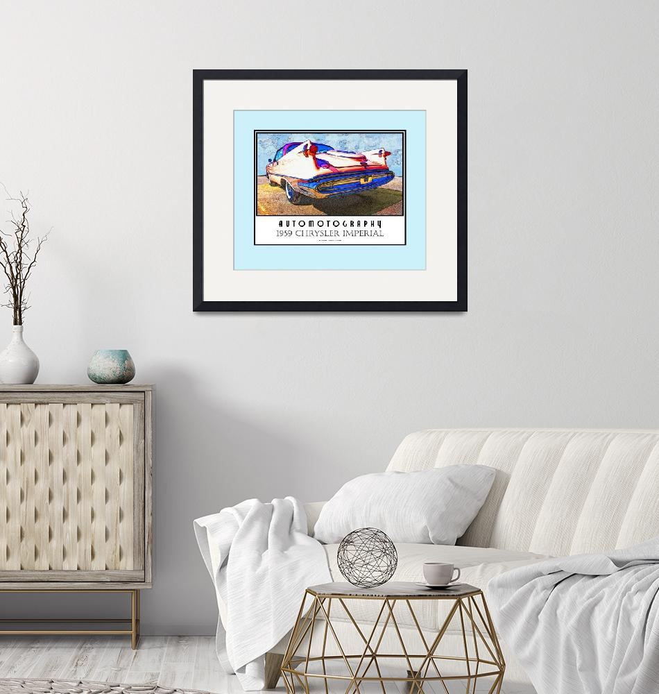 """""""1959 Chrysler Imperial Poster Teal Border""""  (2008) by Automotography"""