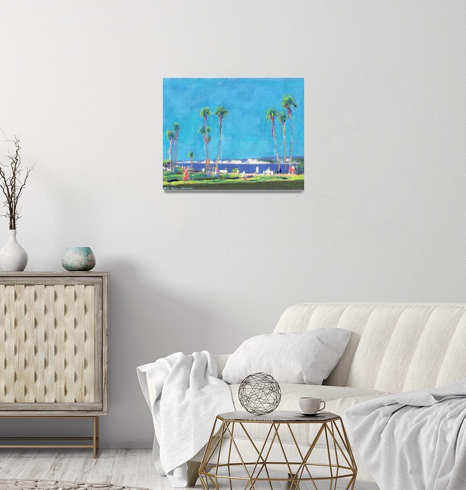 """La Jolla Scripps Park San Diego Water Color""  (2006) by RDRiccoboni"