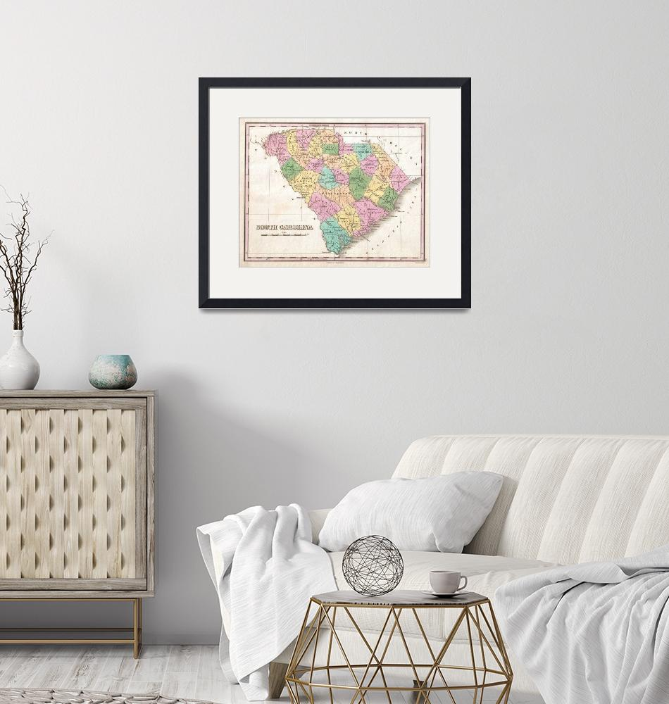 """""""Vintage Map of South Carolina (1827)""""  by Alleycatshirts"""