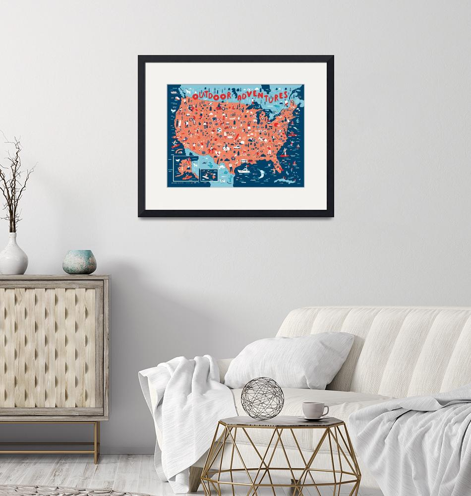 """Illustrated Map of USA Outdoors by Nate Padavick""  by TheyDrawandCook"