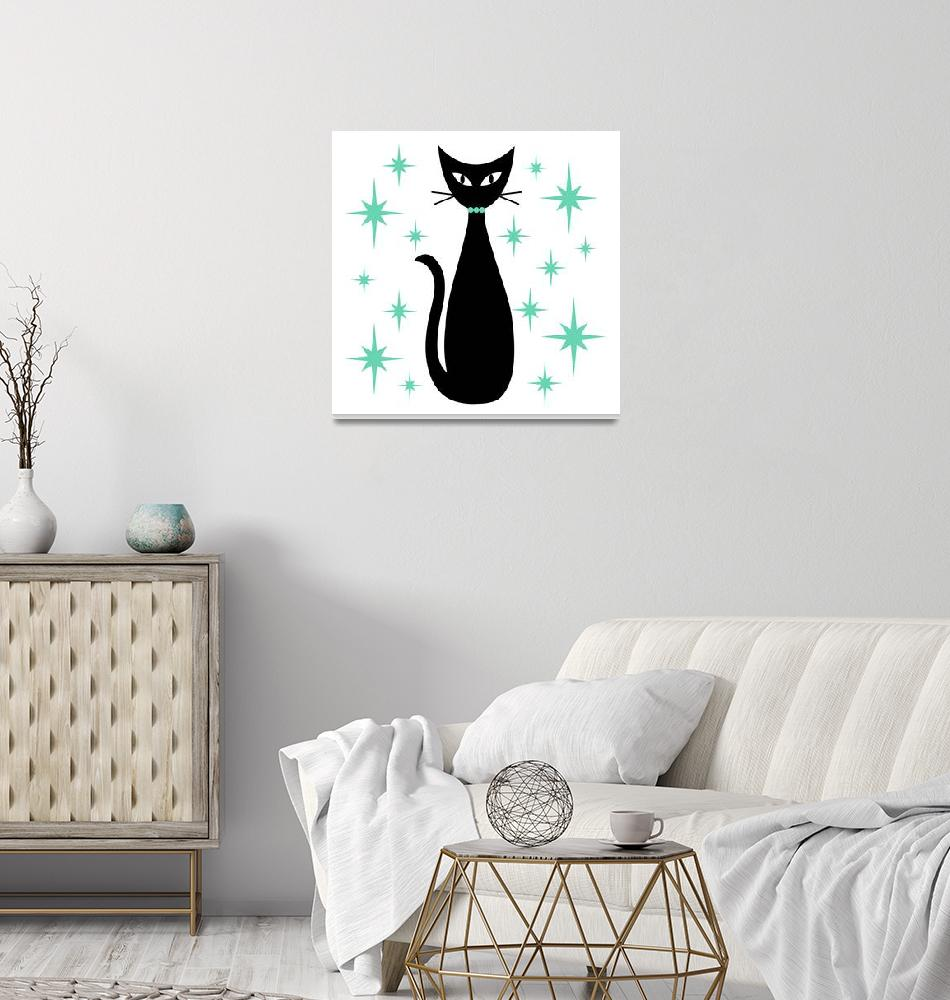 """""""Mid Century Cat with Aqua Green Starbursts""""  (2019) by DMibus"""