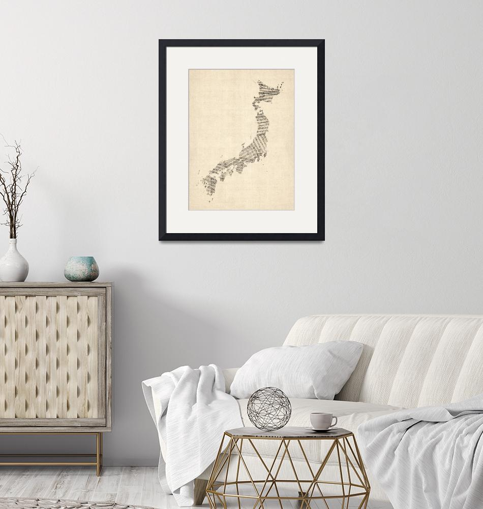 """Old Sheet Music Map of Japan"" by ModernArtPrints"