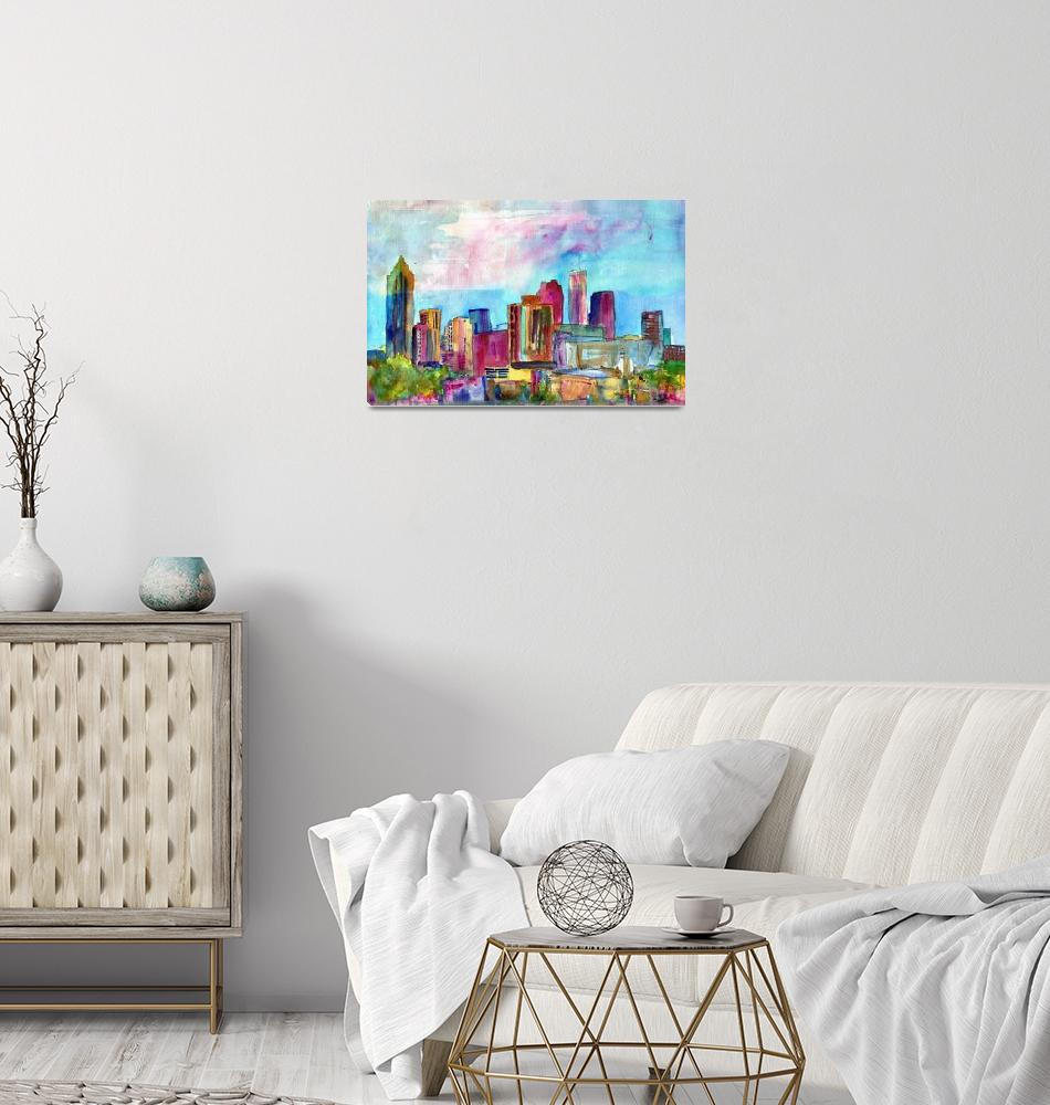 """""""Atlanta Visions, Watercolor abstract skyline paint""""  by schulmanart"""
