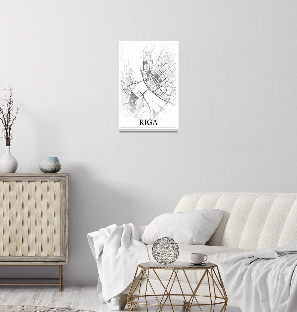 """Riga, Latvia, city map print.""  by dandistudio"