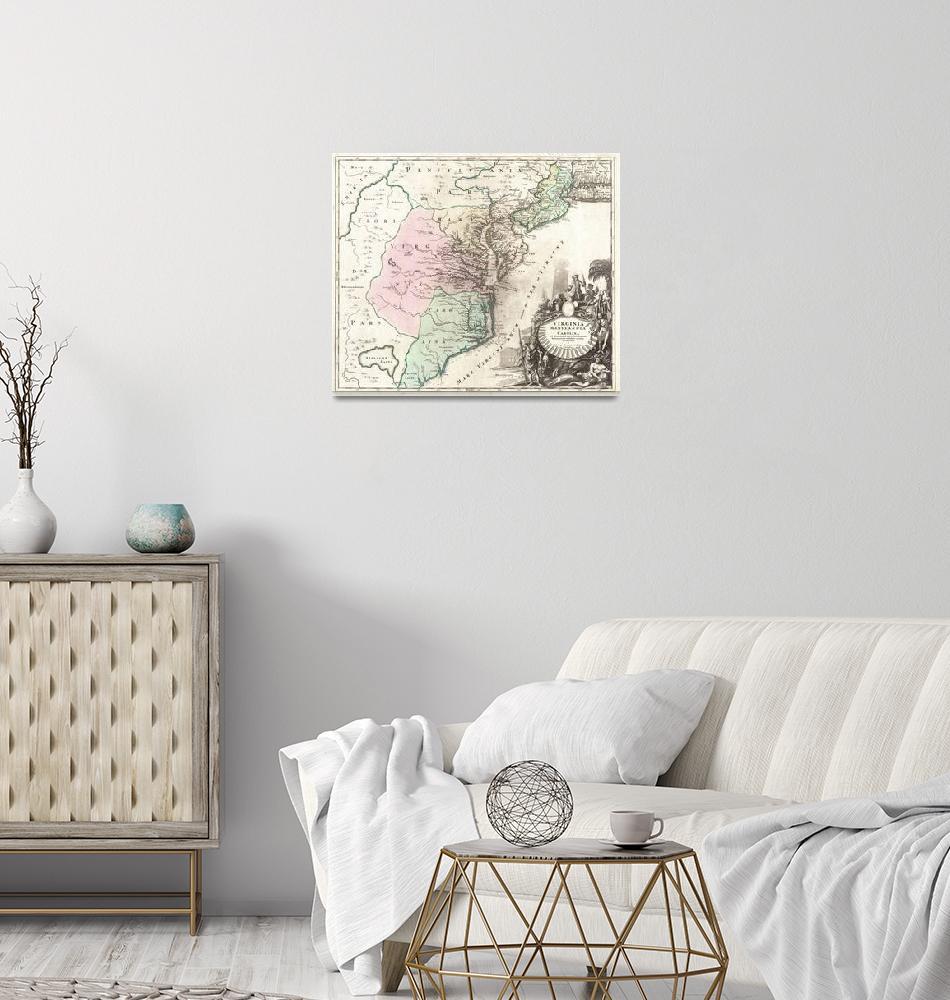 """Map of Carolina, Virginia, Maryland & New Jersey""  by FineArtClassics"