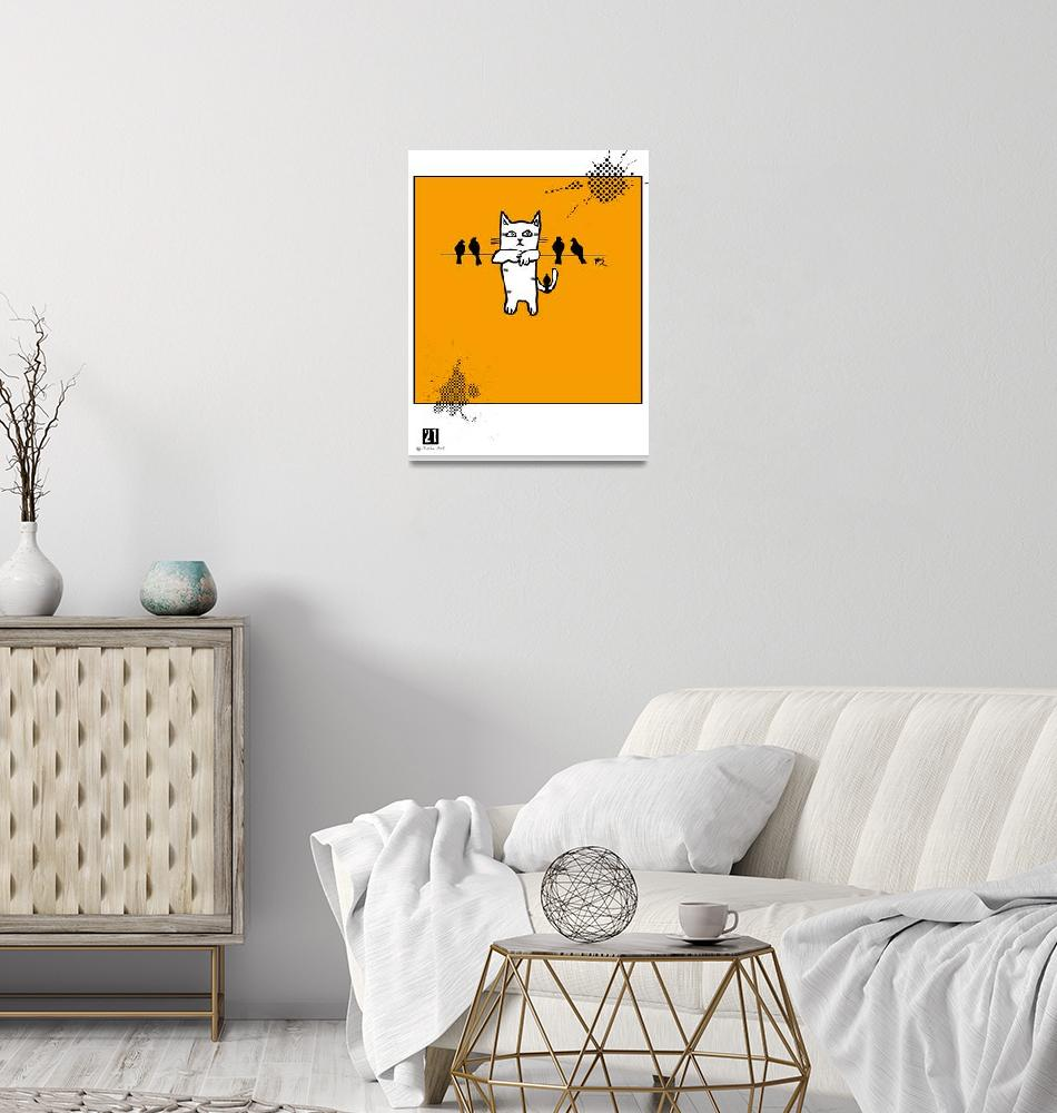 """""""Cat hanging with birds Poster""""  (2019) by jruiz"""