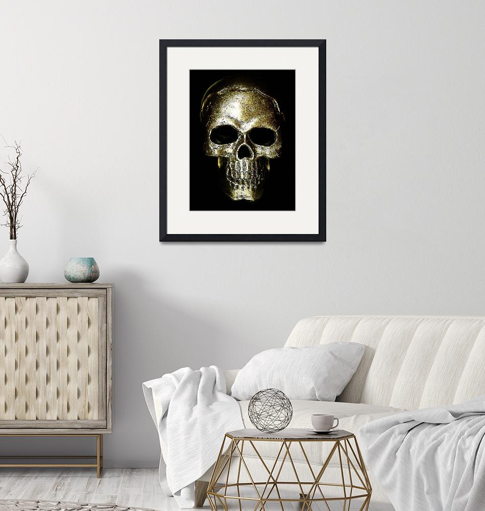 """etched gold skull""  by modernhouseart"