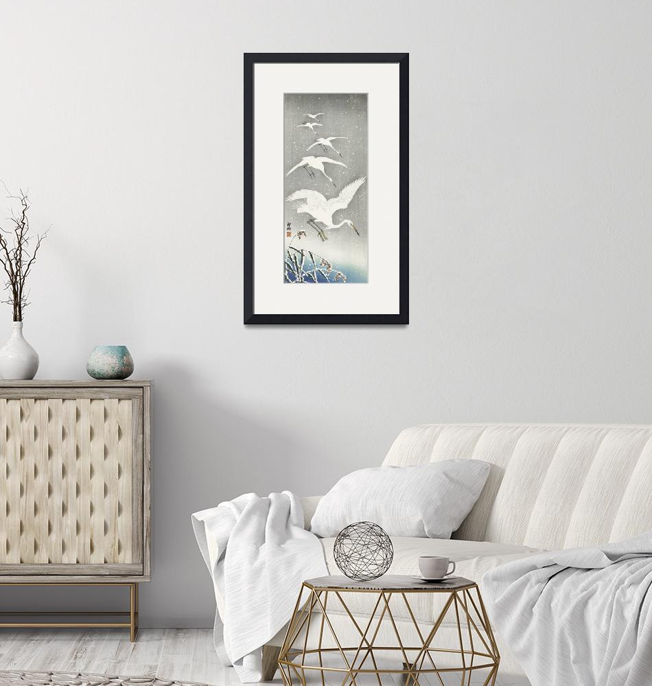 """""""Descending Egrets in Snow by Ohara Koson""""  by FineArtClassics"""