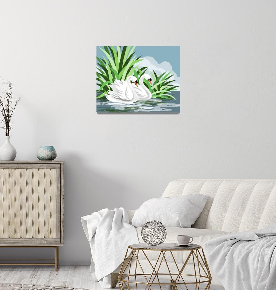 """Mute Swan Painting""  (2006) by waterart"