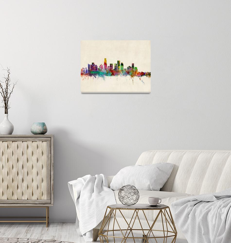 """Los Angeles City Skyline""  (2013) by ModernArtPrints"