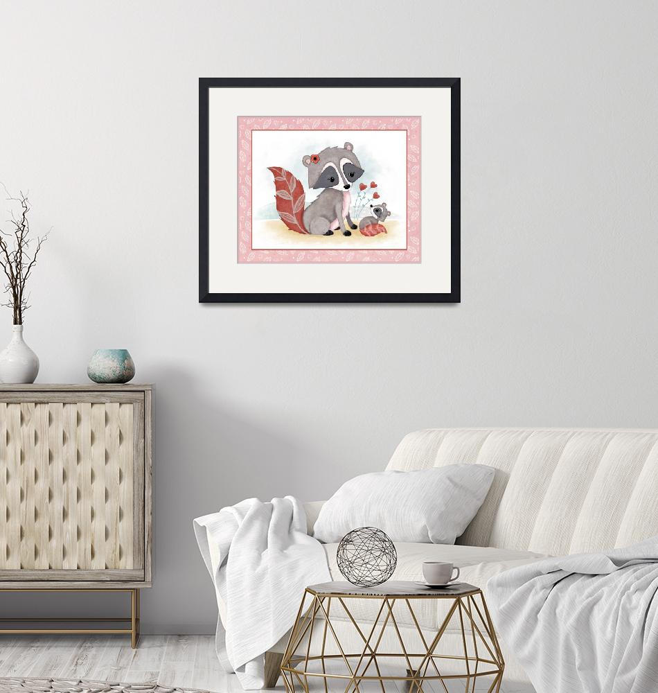 """""""Little Woodland Friends - Raccoon and Baby""""  (2019) by Littlepig"""