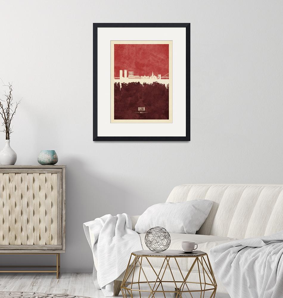 """Umeå Sweden Skyline""  (2020) by ModernArtPrints"