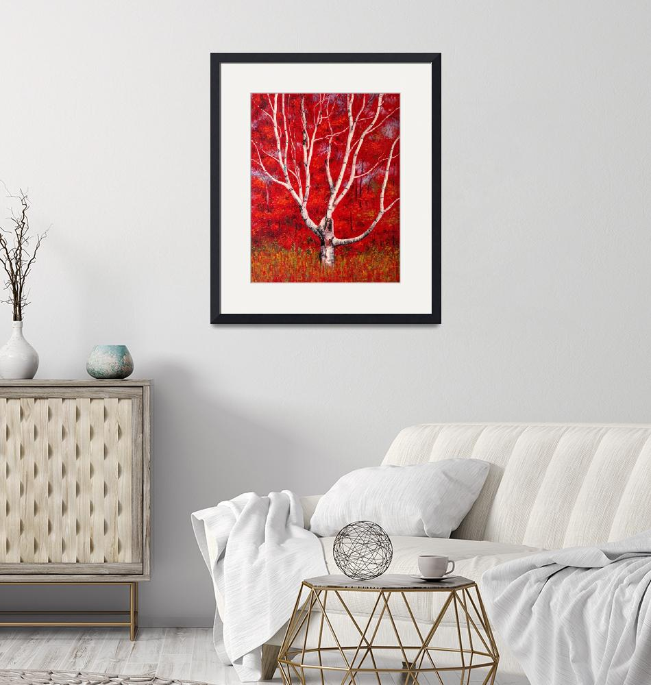 """White Birch Tree Painting""  by visfineart"
