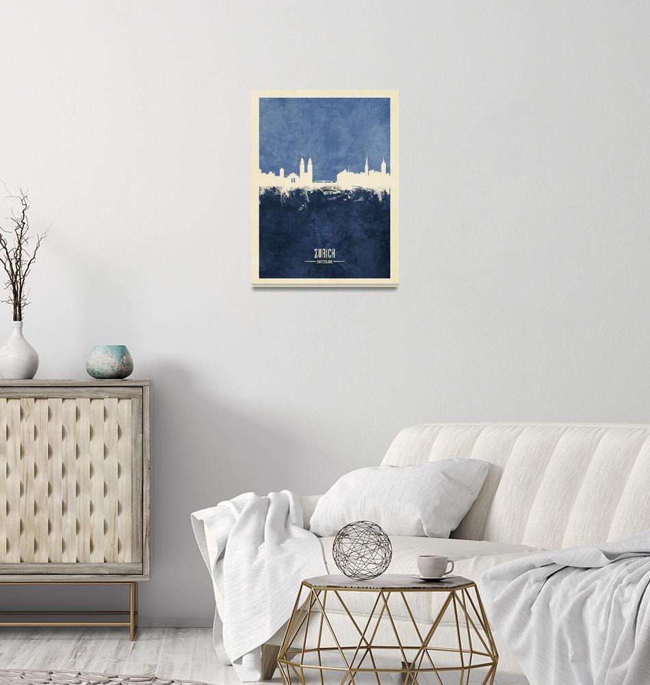 """Zurich Switzerland Skyline""  (2018) by ModernArtPrints"