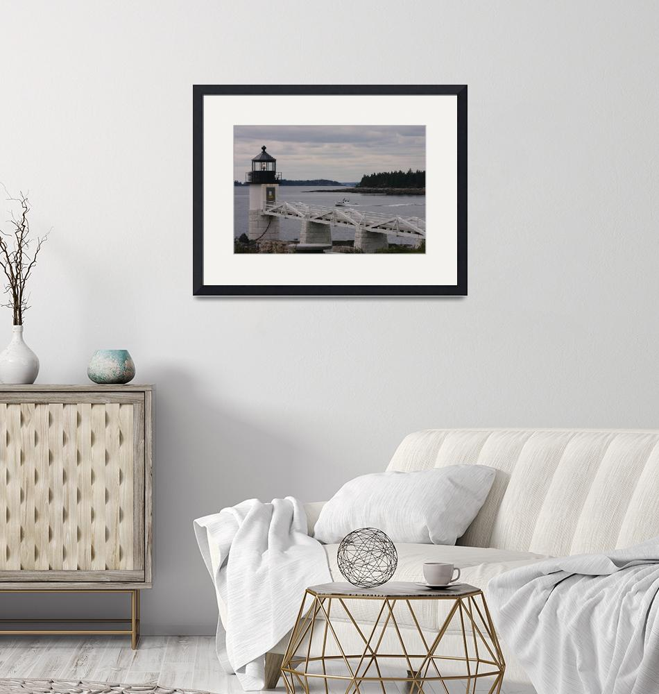 """""""Lobsterman Passing Lighthouse""""  (2009) by NatureScenes"""