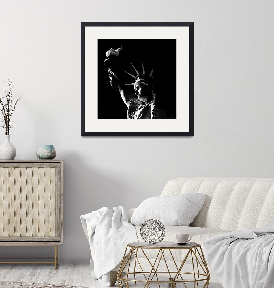 """Statue of Liberty in Black and White Illustration.""  (2013) by New-Yorkled"
