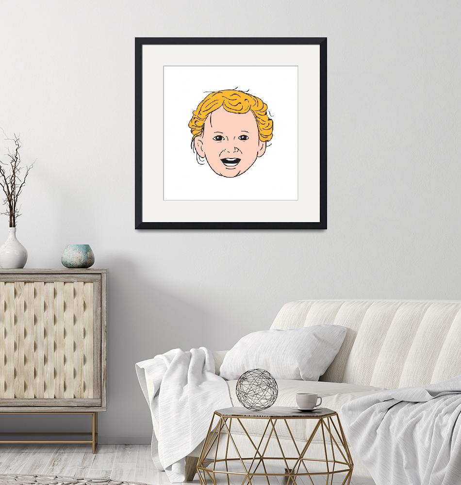 """""""Blonde Caucasian Toddler Head Smiling Drawing"""" (2016) by patrimonio"""
