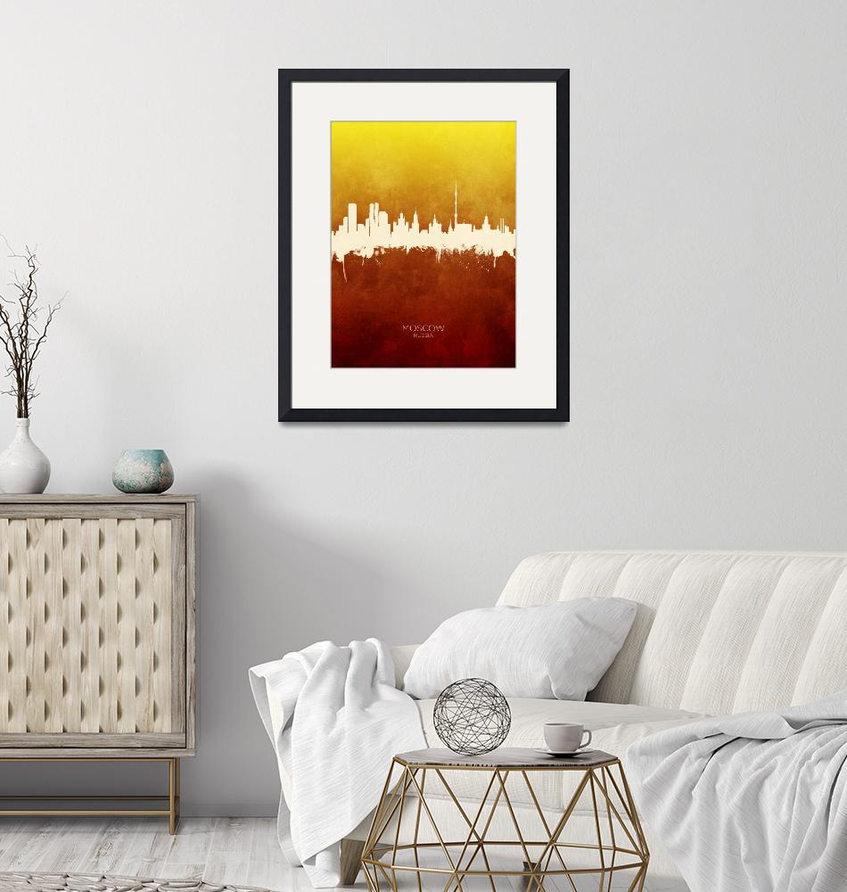 """Moscow Russia Skyline""  (2019) by ModernArtPrints"