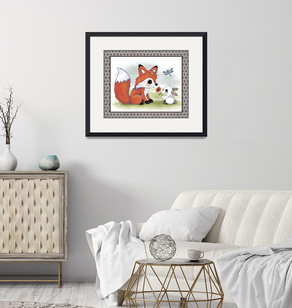 """Fox and Bunny - Woodland Animal Tales Nursery Art""  (2016) by Littlepig"