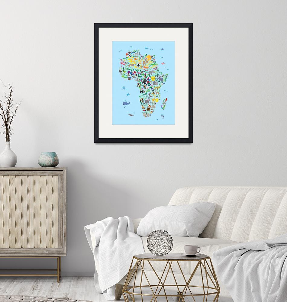 """""""Animal Map of Africa for children and kids""""  (2016) by ModernArtPrints"""