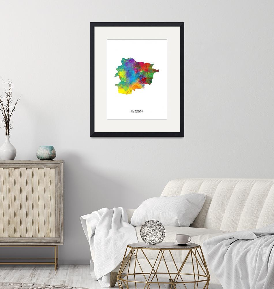 """Andorra Watercolor Map""  (2019) by ModernArtPrints"