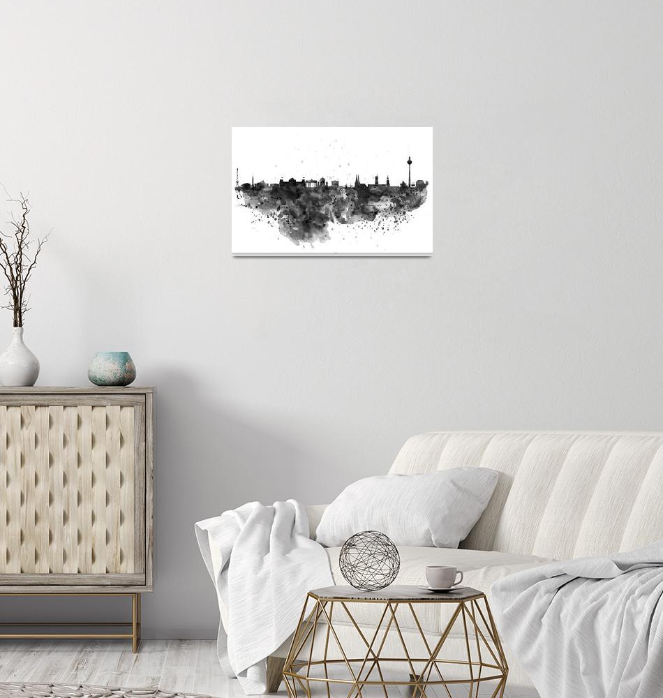 """""""Berlin Watercolor Skyline Black and White""""  (2016) by MarianVoicu"""
