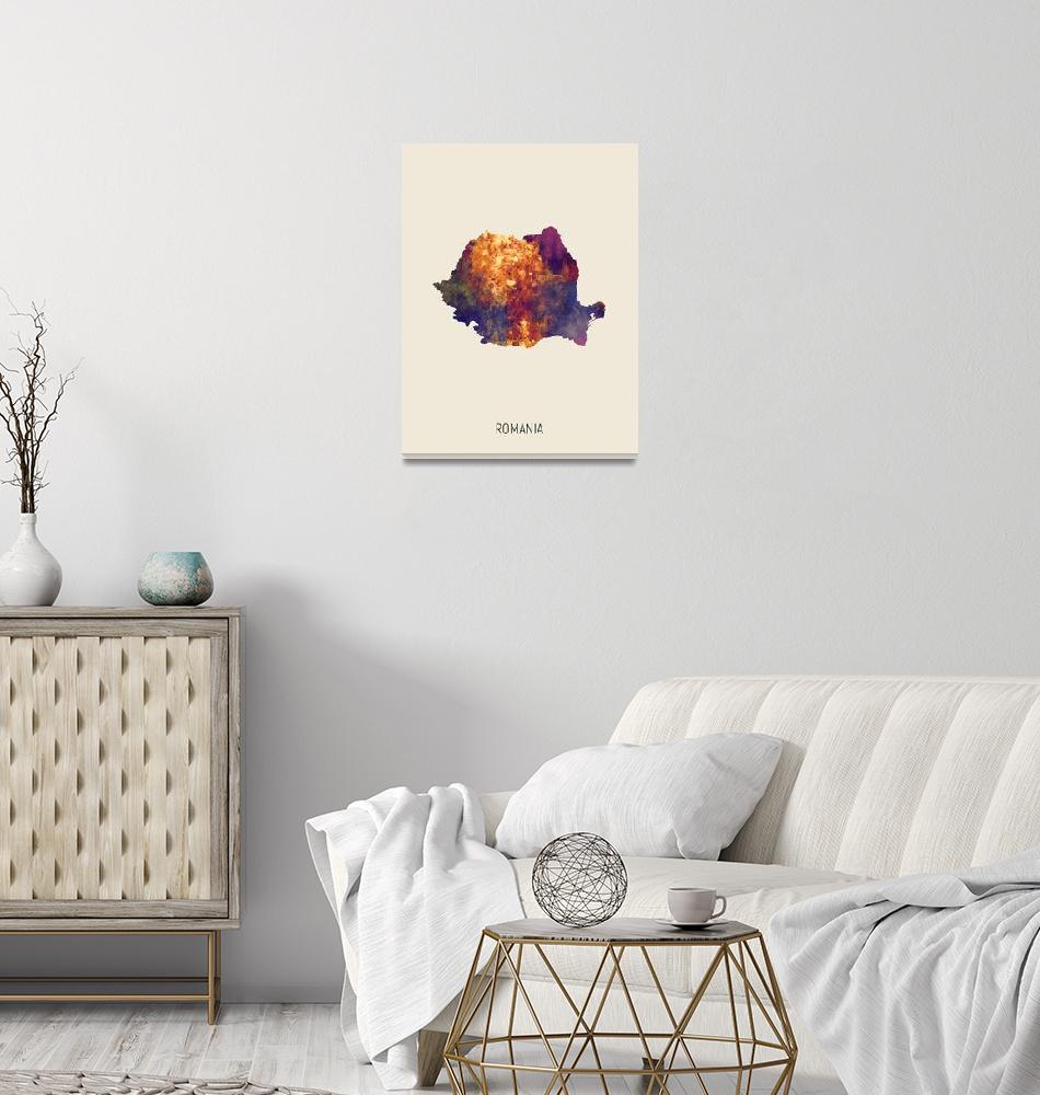"""Romania Watercolor Map""  (2019) by ModernArtPrints"