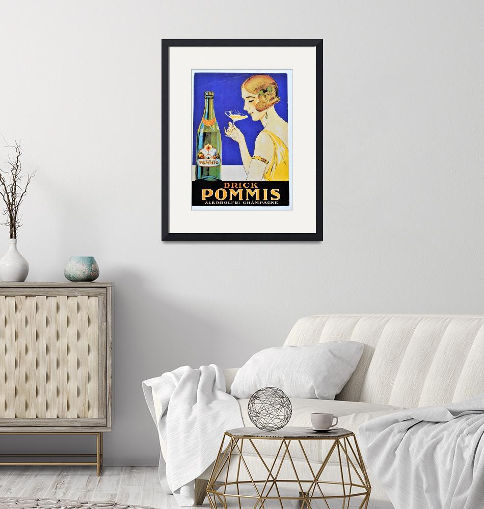 """Drick Pommis Champagne Vintage Poster""  by FineArtClassics"