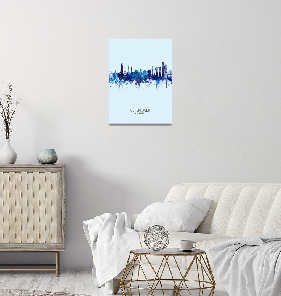 """Copenhagen Denmark Skyline""  (2019) by ModernArtPrints"
