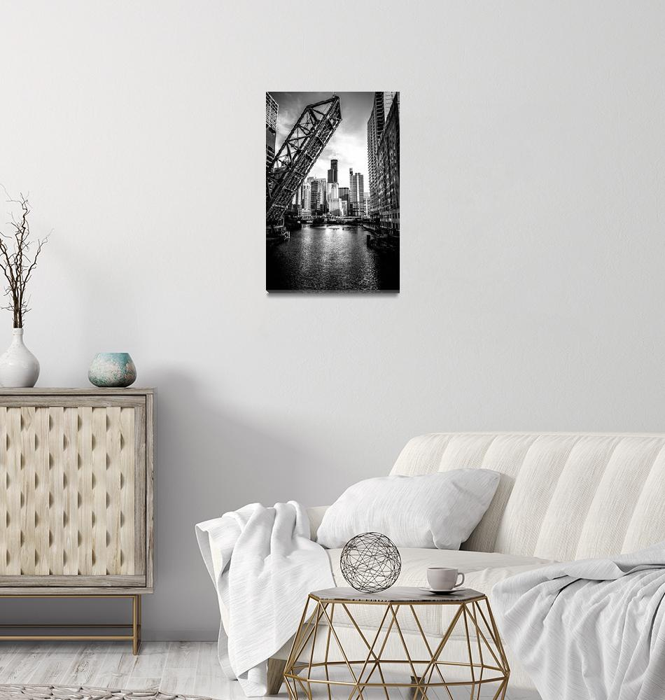 """Chicago Kinzie Street Bridge in Black and White""  (2012) by PaulVelgos"