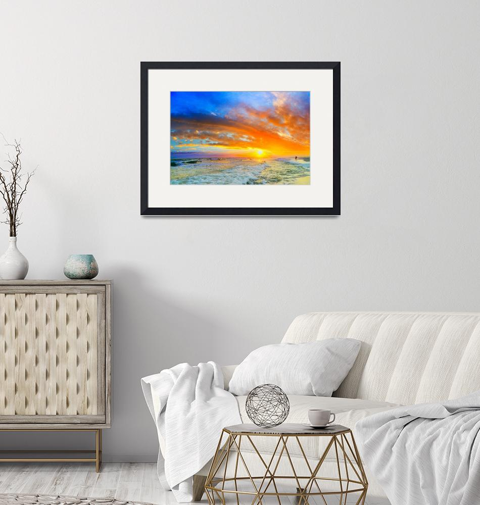 """beautiful ocean sunset waves red orange blue sky""  (2015) by eszra"