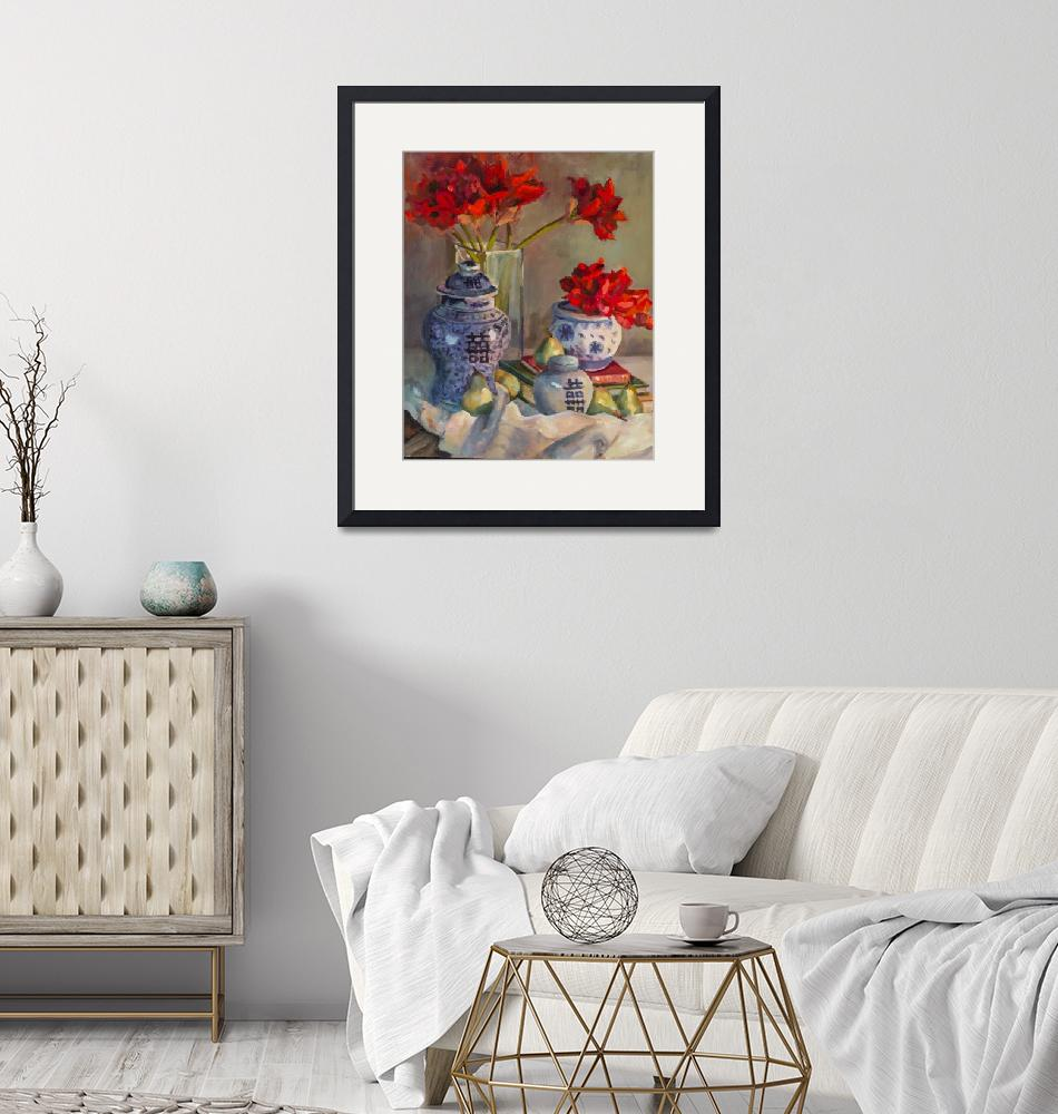 """""""Red Amaryllis in Blue and White Pots""""  (2015) by SusieMuise"""