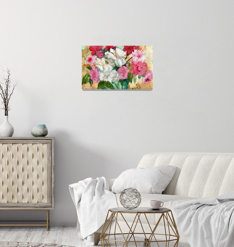 """Watercolor Flowers, Pretty Peonies, pink""  (2013) by schulmanart"