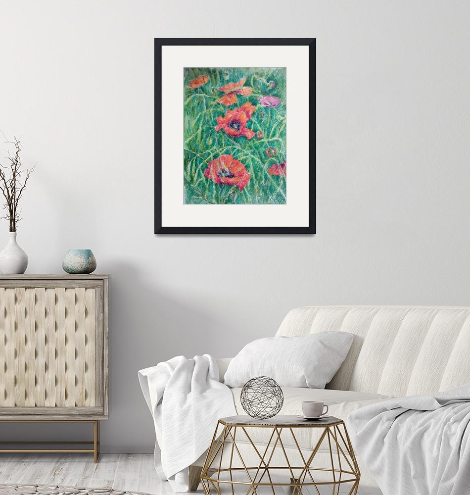 """""""Poppies in a grass""""  (2020) by watercolourart"""