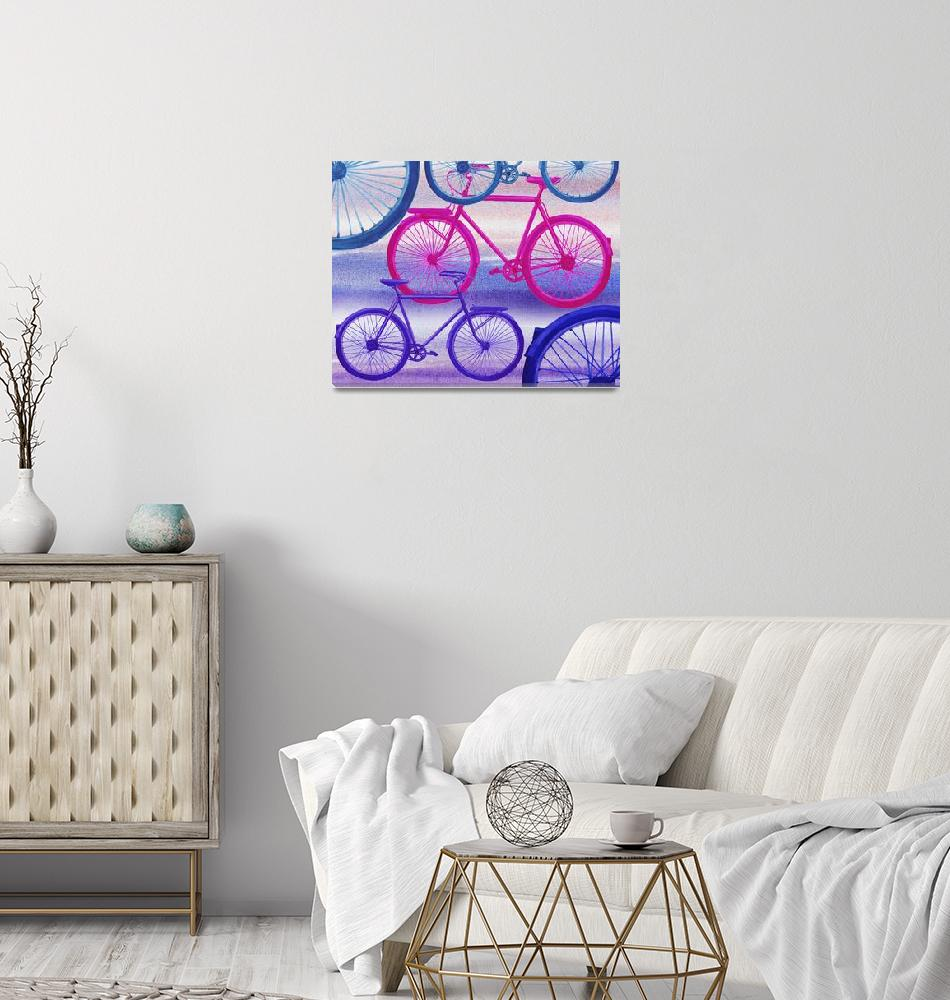 """Abstract Bicycles Silhouettes Collection II""  (2017) by IrinaSztukowski"