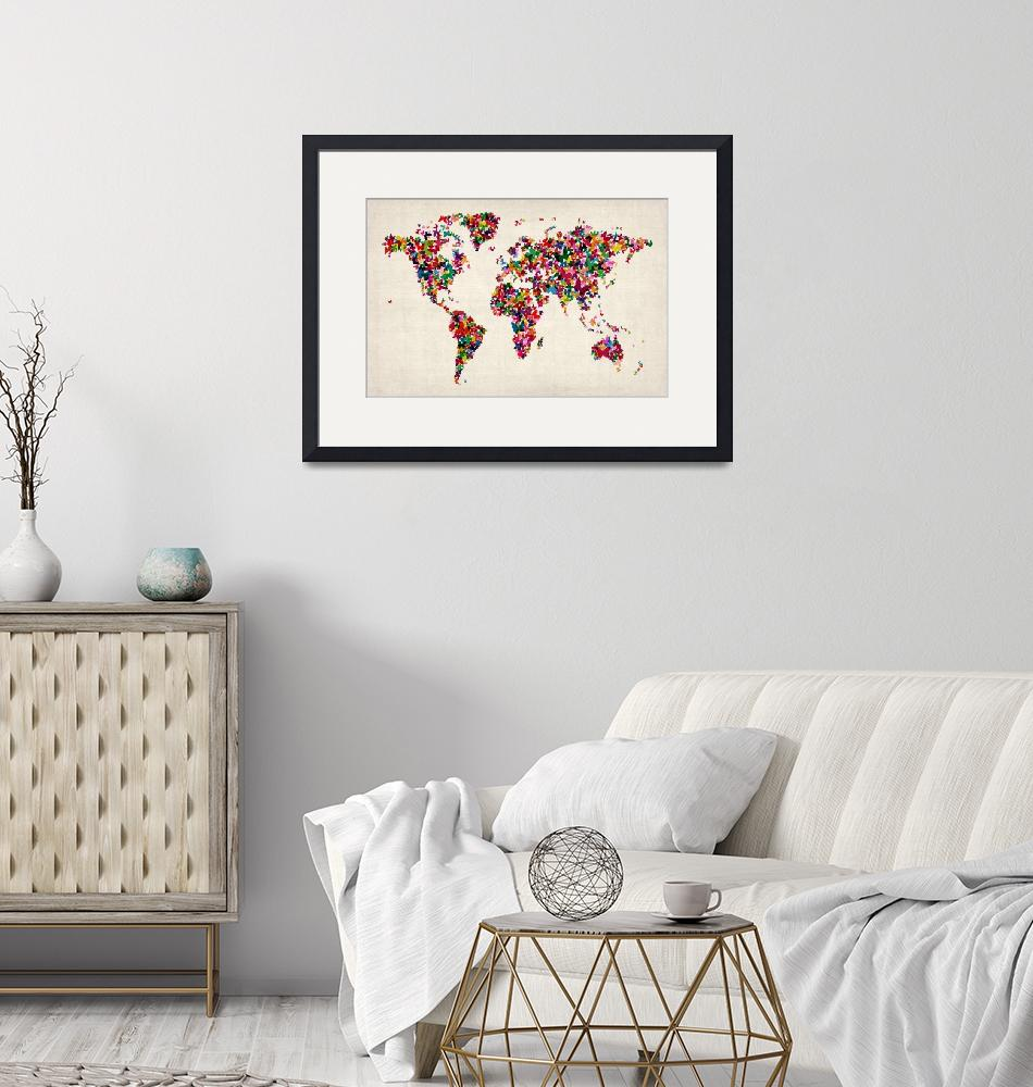 """Butterflies Map of the World Map"" (2012) by ModernArtPrints"