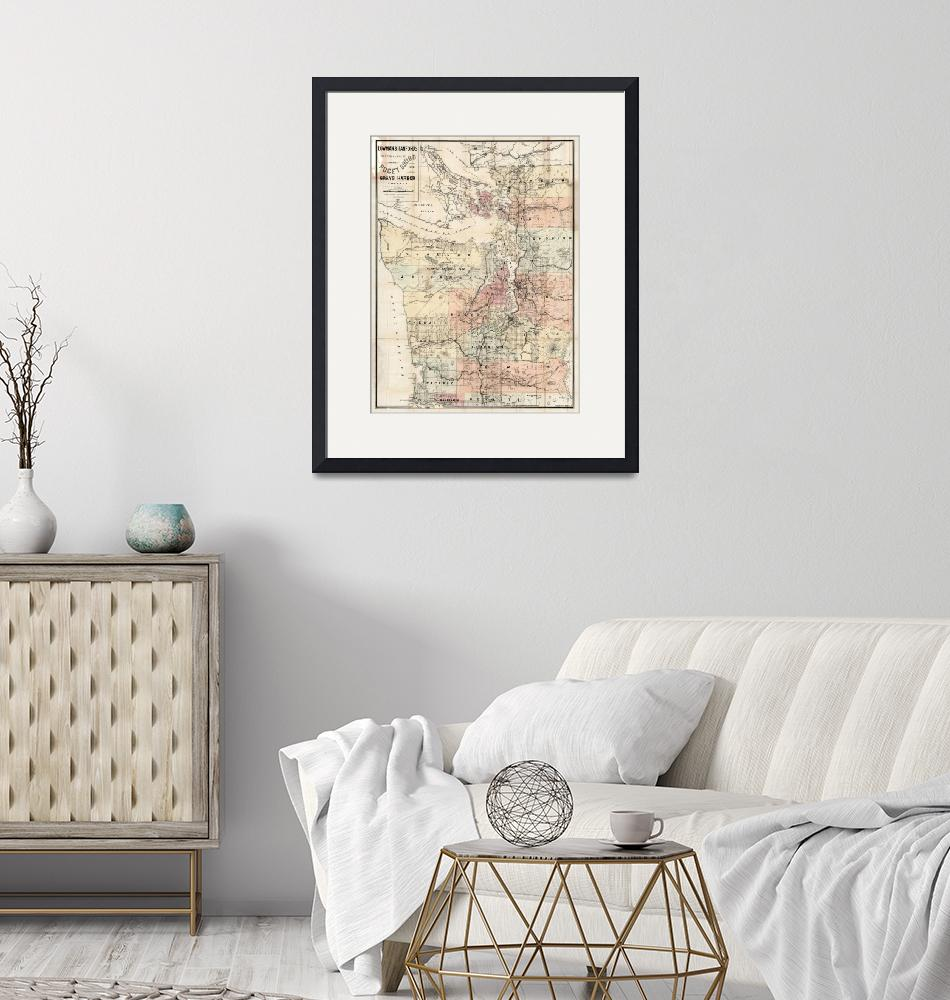 """Vintage Map of The Puget Sound (1891)""  by Alleycatshirts"