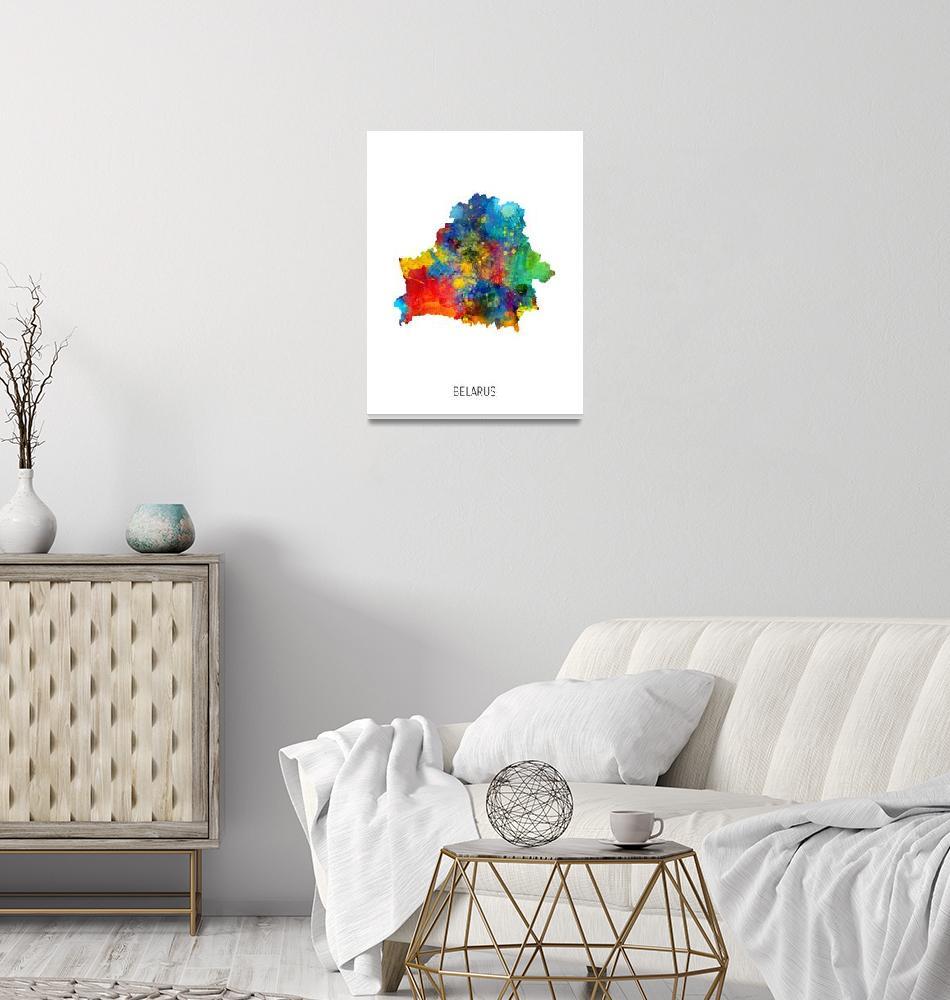 """Belarus Watercolor Map""  (2019) by ModernArtPrints"