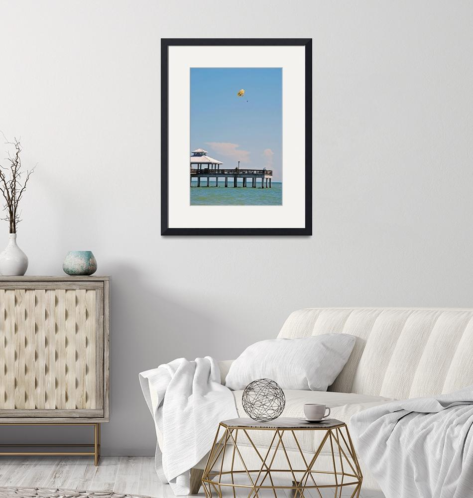"""""""Parasailing off the Ft Myers Pier""""  (2009) by lwoodburn"""