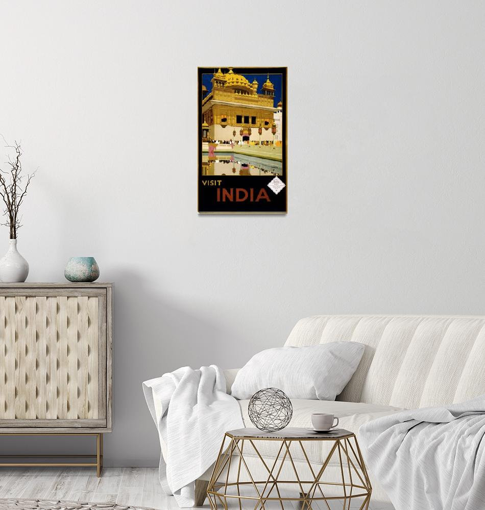 """Vintage Visit India Golden Temple Travel""  by PDGraphics"