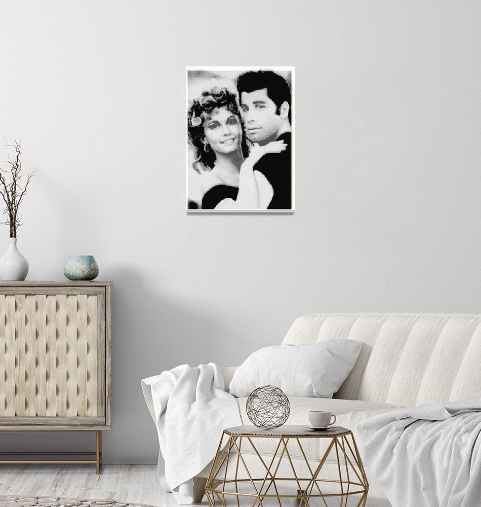 """Olivia Newton John and John Travolta in Grease Col""  (2015) by RubinoFineArt"