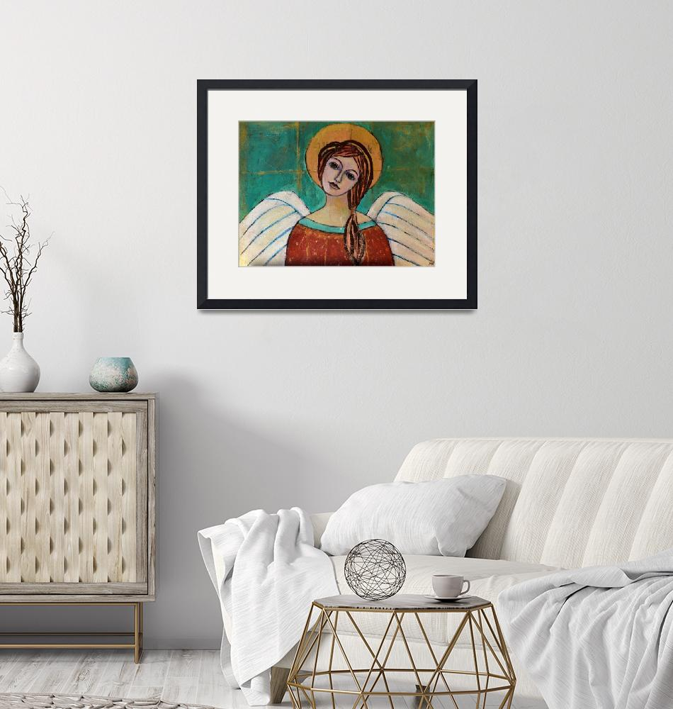 """""""Guardian Angel Inspirational Spiritual Painting""""  (2019) by Maggy"""